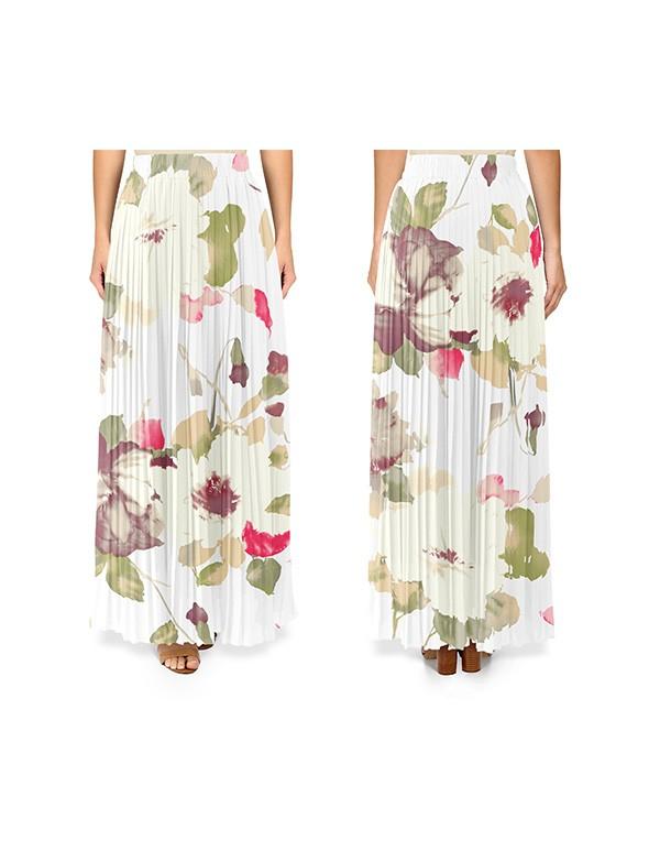 Women Pleated Maxi Skirt