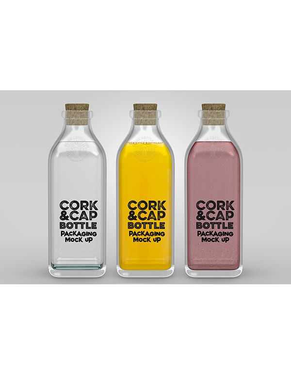 Cork Transparent Bottle mockup