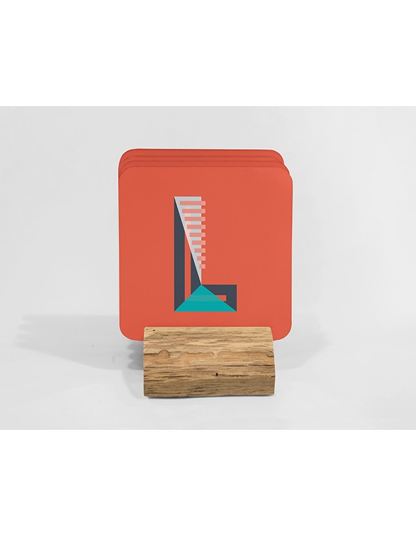 Square Coaster with rounded corner  Mockup