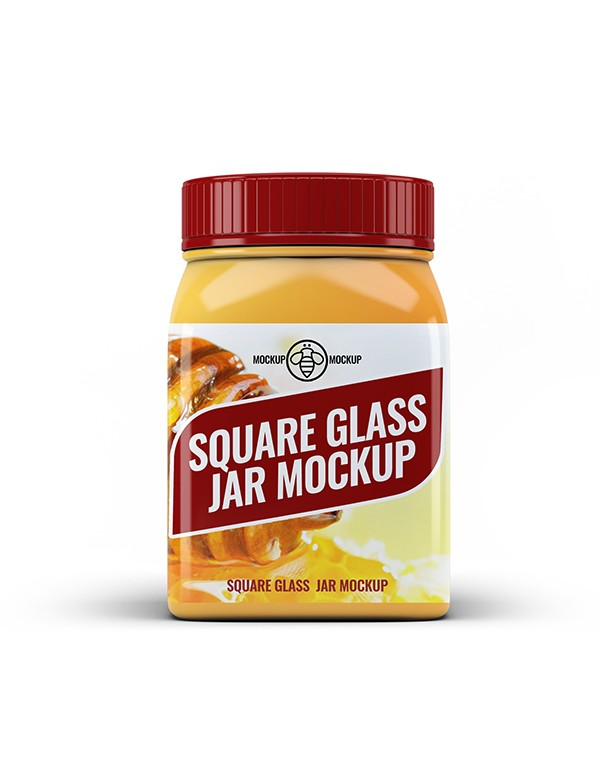 Square Glass Jar Mcokup