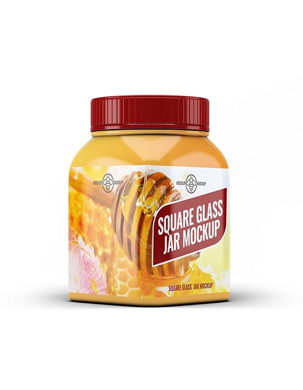 Square Glass Jar Mcokup