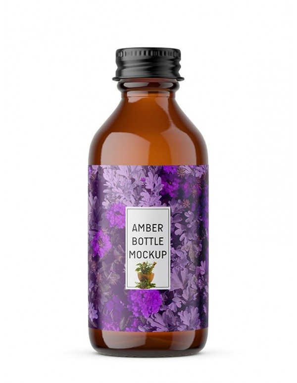 Amber Screw Bottle Mockup