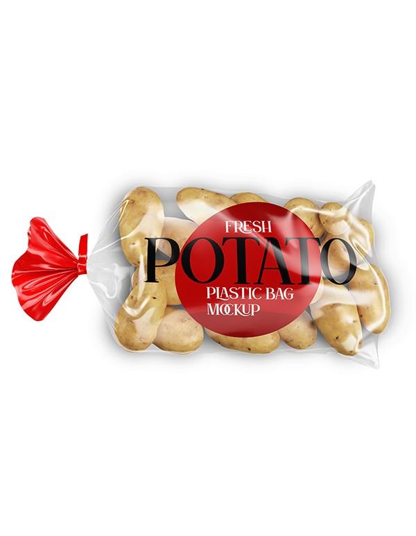 Plastic bag with Potatoes Mockup