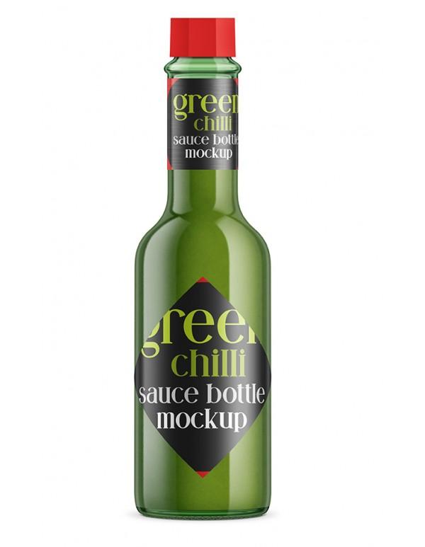 Green Chilli Sauce Bottle Mockup