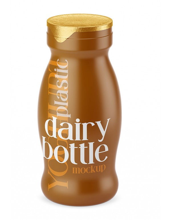 Plastic Dairy Bottle Mockup with Shrink Sleeves