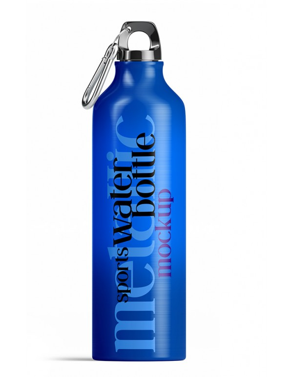Metallic Sports Water Bottle Mockup