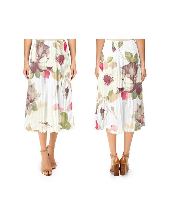 Women Pleated Midi Skirt