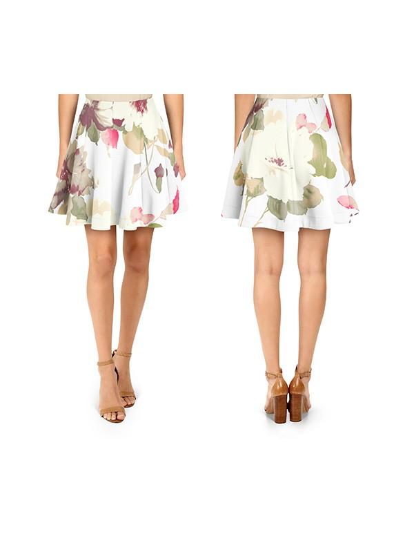 Women Vertical Panel Flare Skirt